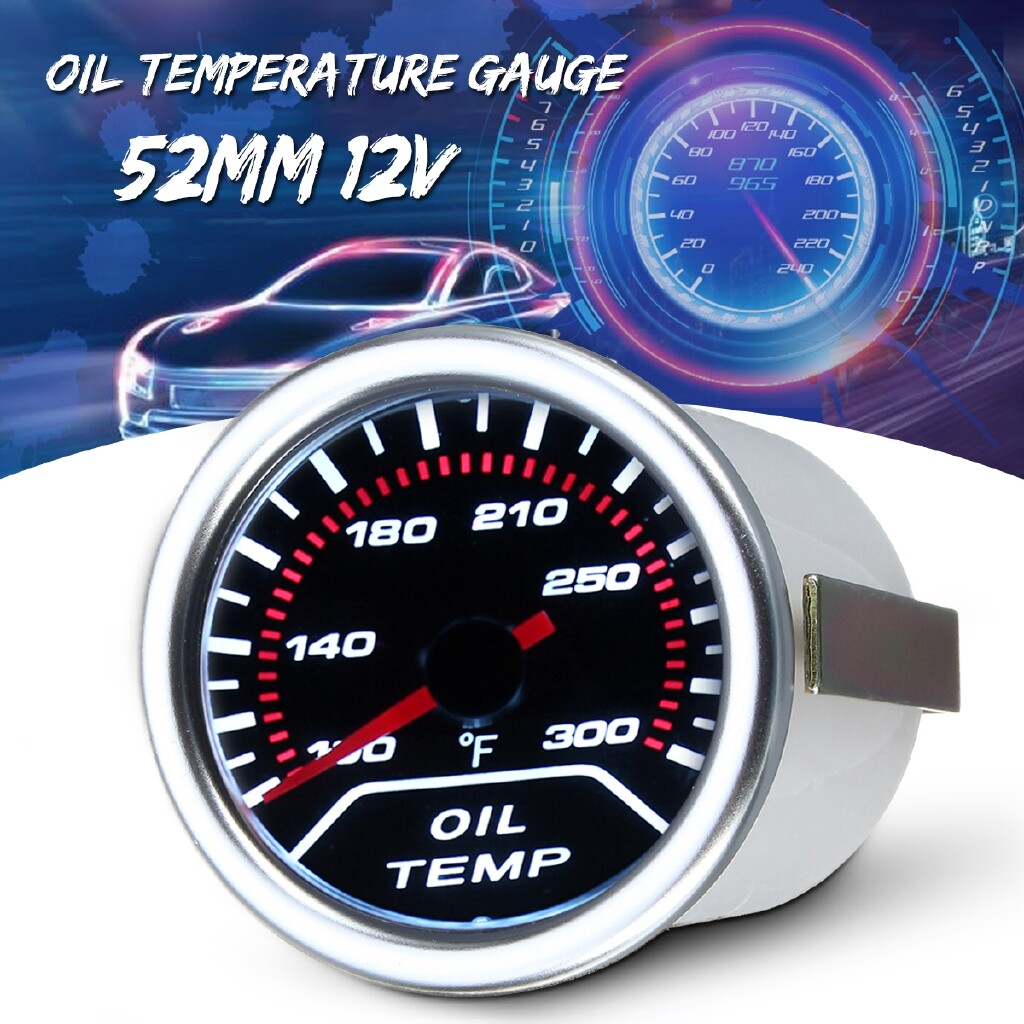 Moto Accessories - White 2\'\' 52mm Car Auto Smoke Lens LED Pointer Oil Temperature Temp Gauge Meter - Motorcycles, Parts