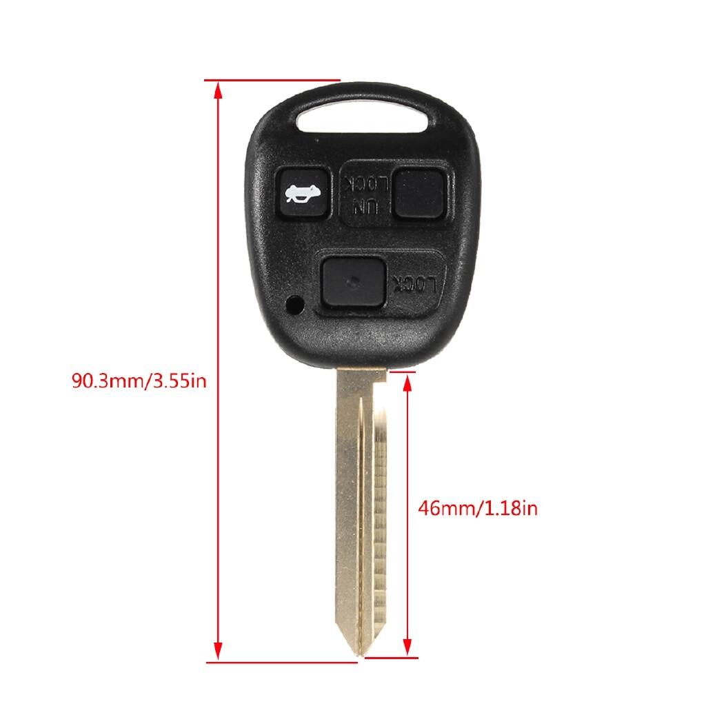 Automotive Tools & Equipment - 3 Buttons Remote Key Case Fob Toy47 FOR TOYOTA YARIS HIACE COROLLA AVENSIS CAMRY - Car Replacement Parts