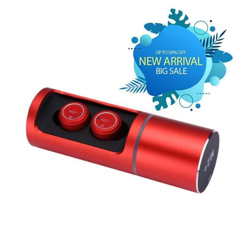 M2+ Wireless Bluetooth 5.0 Headset TWS Stereo Sport Earphone mini Stealth Microphone Earplug For Smartphone High Quality RED
