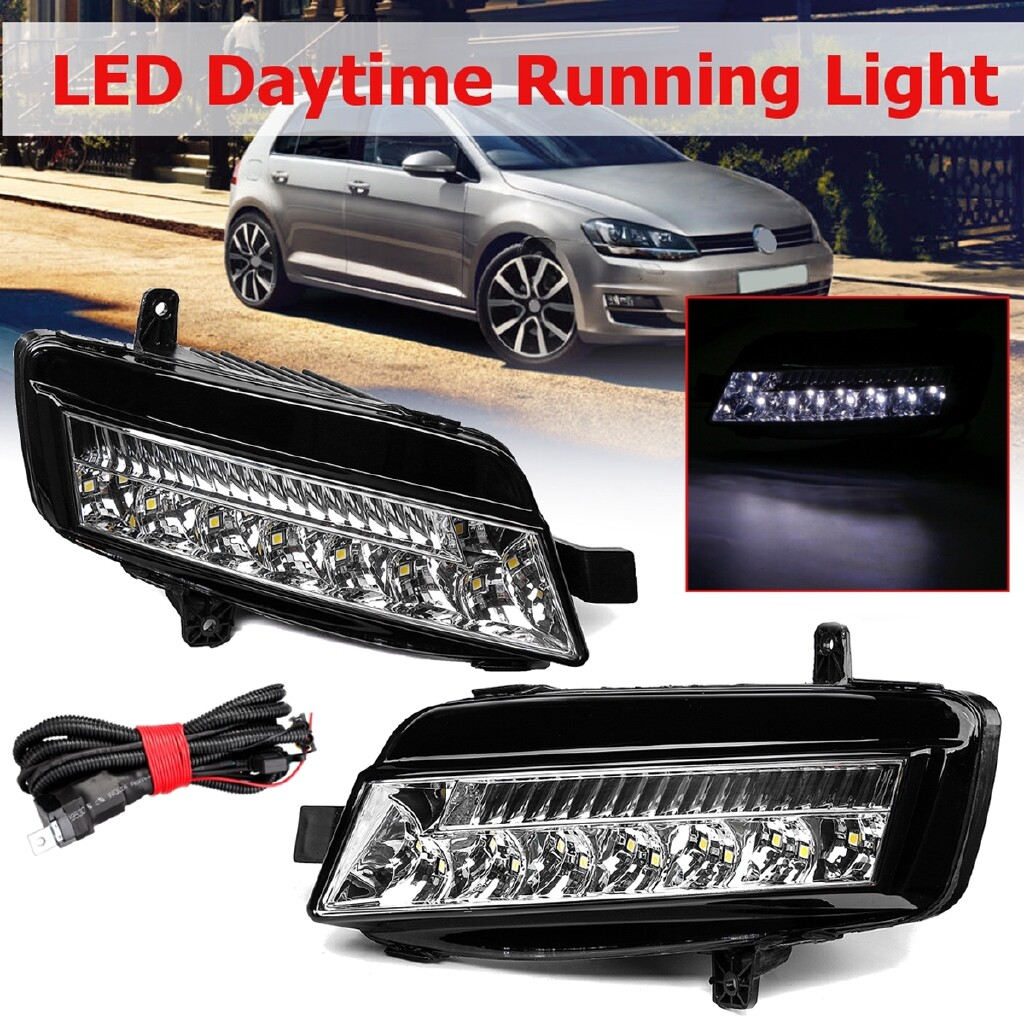 Engine Parts - 2 PIECE(s) LED Daytime Running Lights Fog Lamp W/ Harness DRL For VW Golf 7 MK7 14-16 - Car Replacement