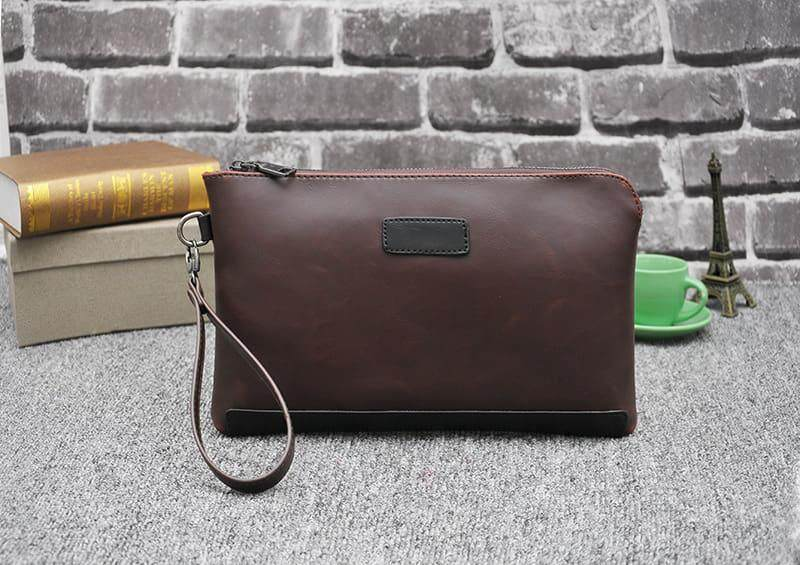 [Ready Stock] 2019 Korean Series Men's Leather Handcarry Bag With String Fengshui Clutch Bag Can Fit Iphone Any Android Mobile Long Purse Perfect Gift For Husband And Father Multifunctional Portable Bag Card Holder Dompet Panjang Kulit Dompet Halal