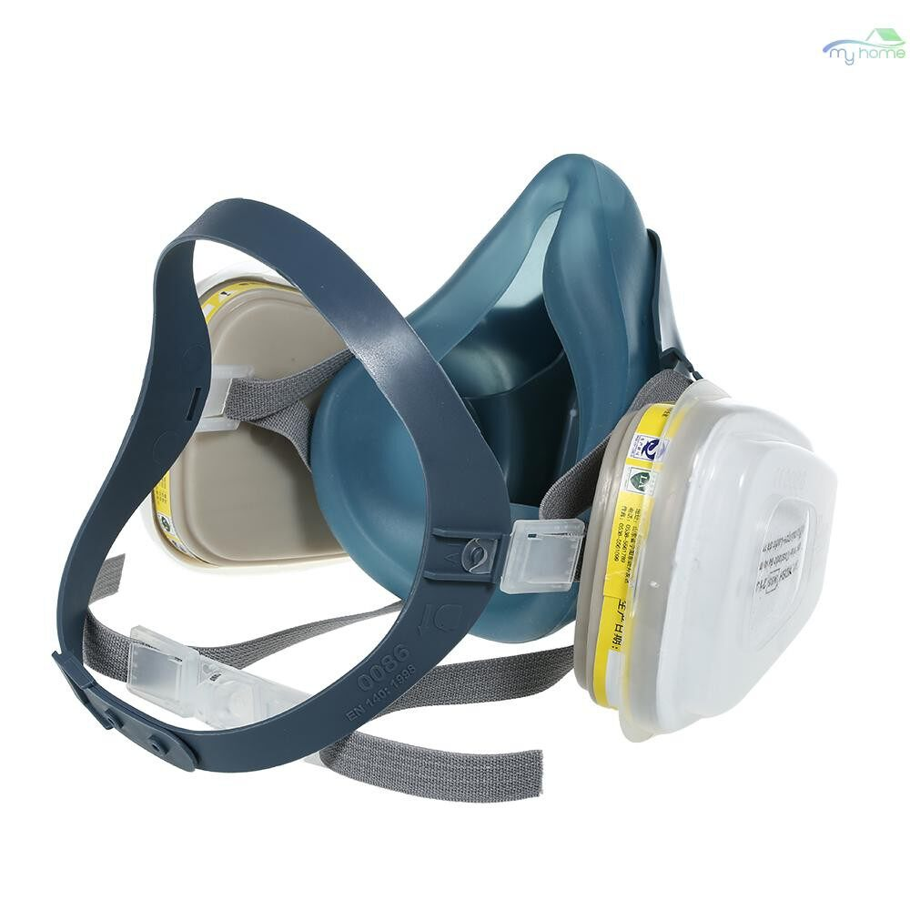 Protective Clothing & Equipment - 8200 Half Face Gas Mask Respirator with 2 PIECE(s) 7# Organic Acid Gas Filter Cartridge Filter Cotton - MULTICOLOR