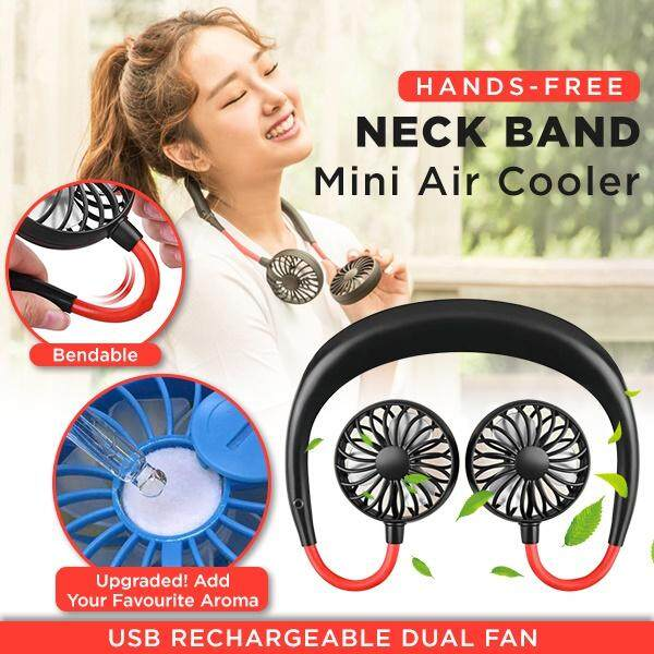 Portable USB Rechargeable Sports Fan Mini Hanging Neck Fan Dual Wind Head for Kitchen Cooking, Traveling Outdoor