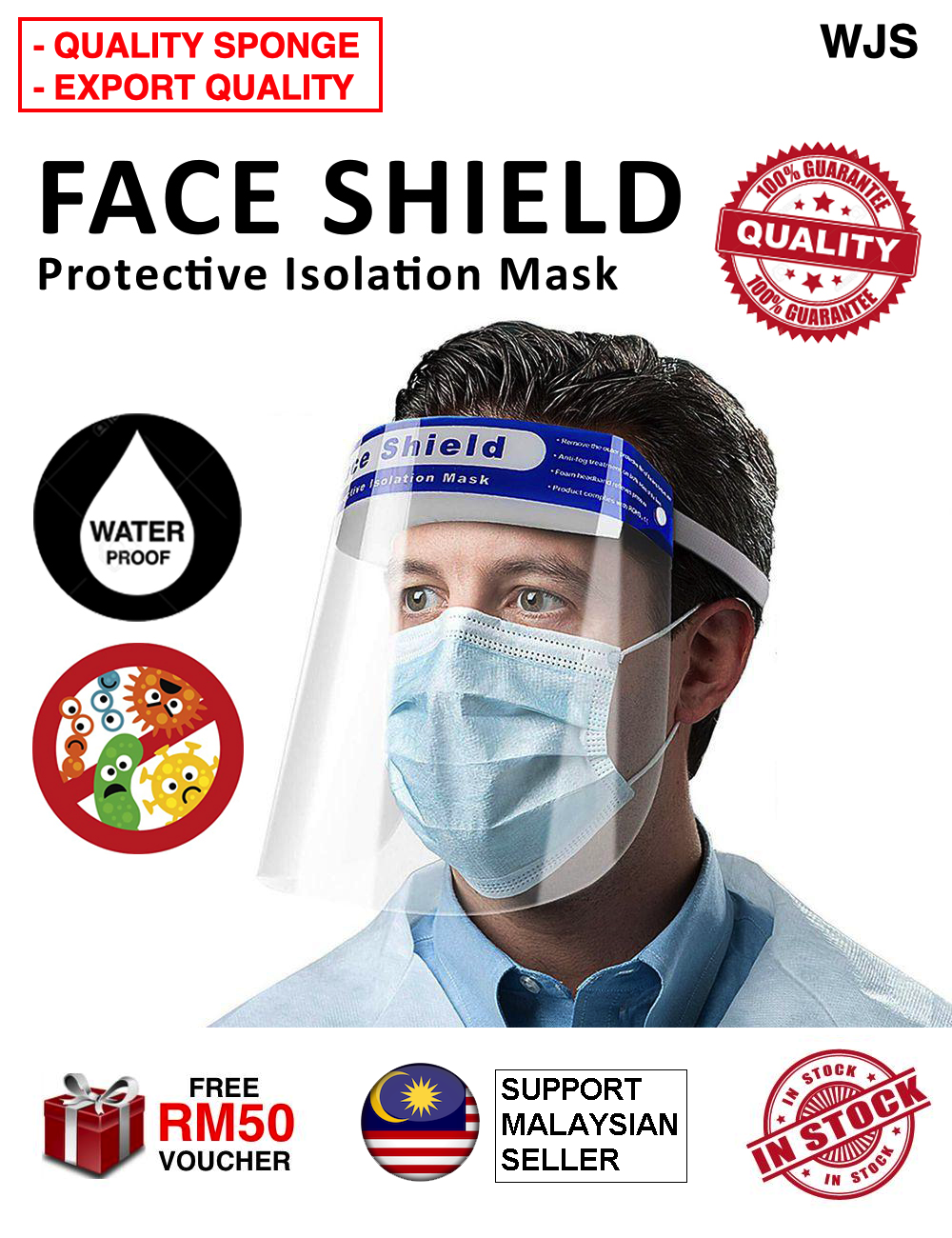 (EXTRA COMFORT) WJS Premium Face Shield PVC Face Shield Transparent Material Waterproof Anti-fog Sneeze Headgear Masks Foldable Protective Face Full Face Protection Shield Mask Hats Face Mask [FREE RM 50 VOUCHER]