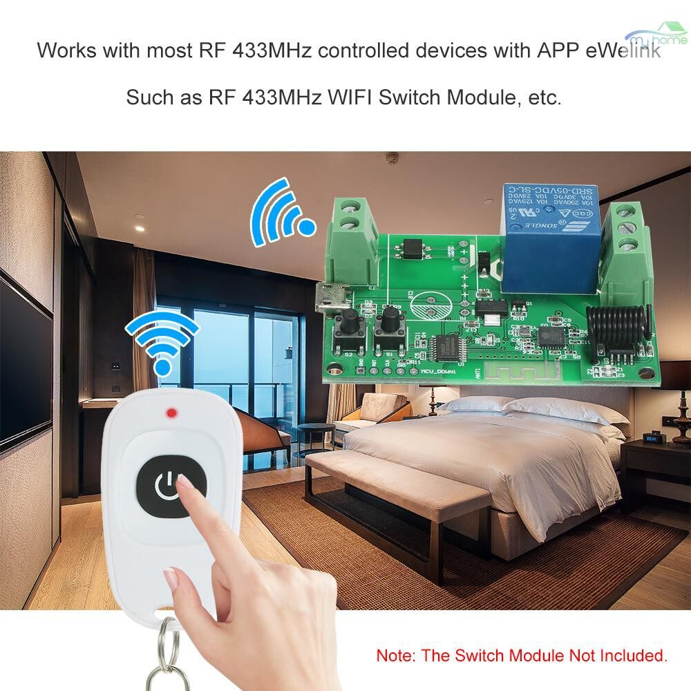 DIY Tools - Remote Controller 433MHz WIRELESS Control Electric Appliances 1 Buttons Smart Remote Controller for - WHITE