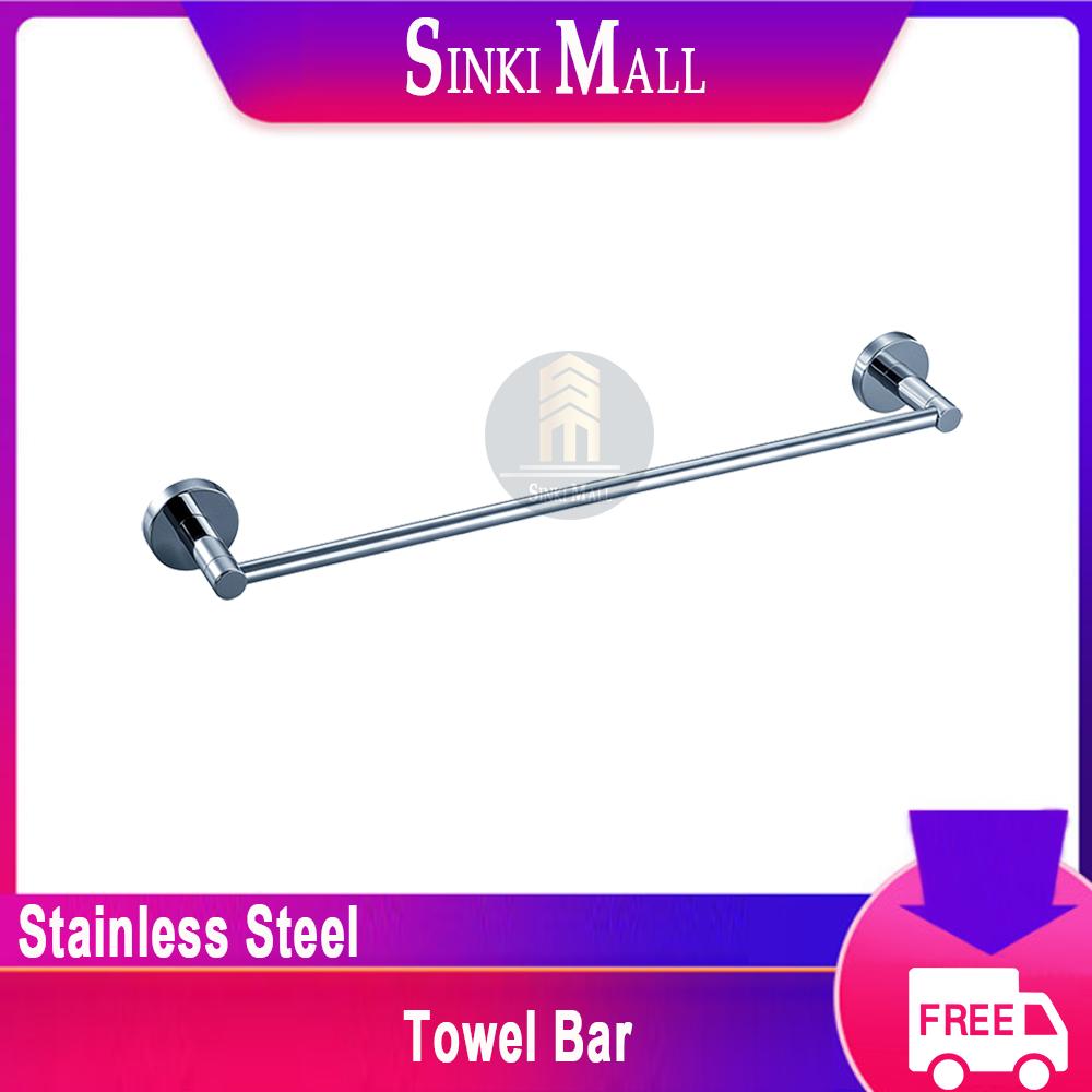 SUS304 Stainless Steel 600/800mm Bathroom Single Towel Bar Wall Mount