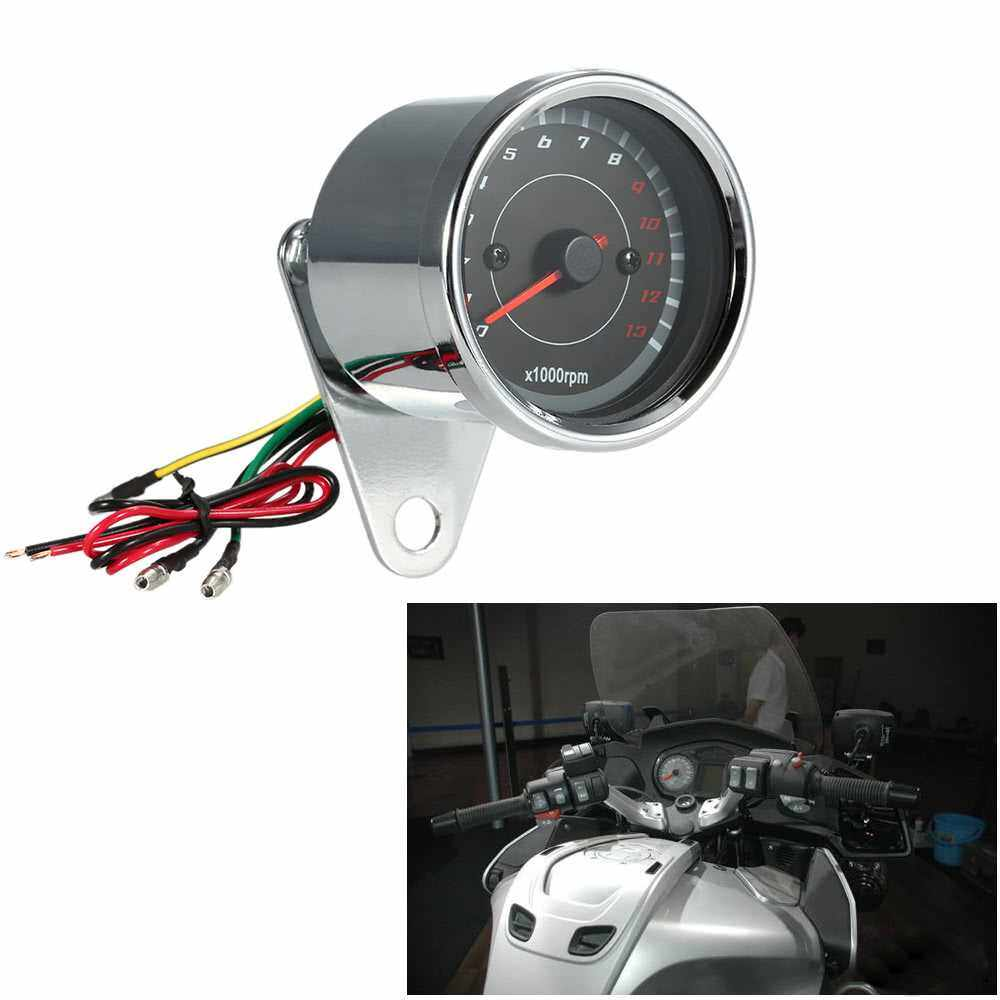 12V Universal Motorcycle Tachometer Meter LED Backlight 13K RPM Shift (Standard)