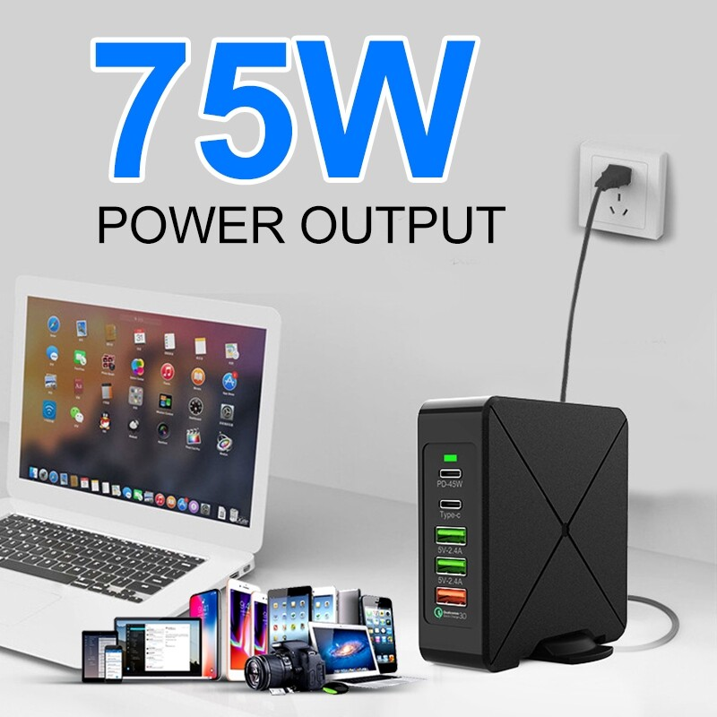 Chargers - 3 USB +Type C 10W WIRELESS Charge Laptop Power Adapter Fast Charge to Charger USB Jack USB Wall - UK