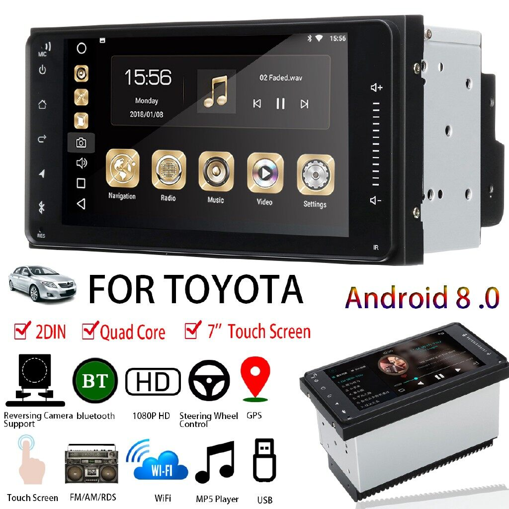Car Multimedia Players - 7\'\' 2DIN Touch Screen Car Stereo Quad Core Radio MP5 Sat Nav For Toyota - Electronics