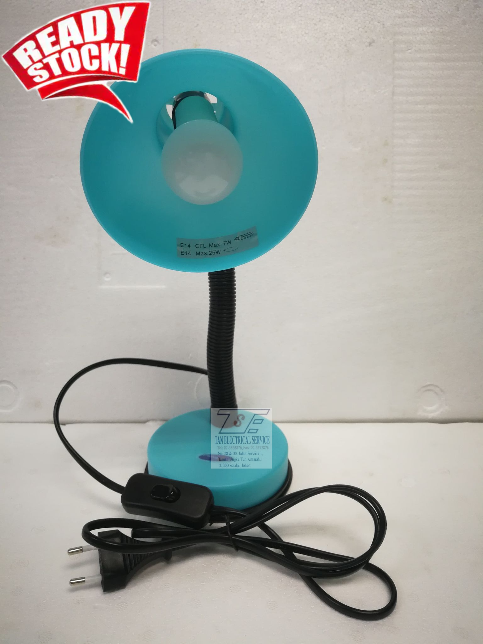 Panalux PTL-002 PLASTIC TABLE LAMP (BLUE) + LED BULB