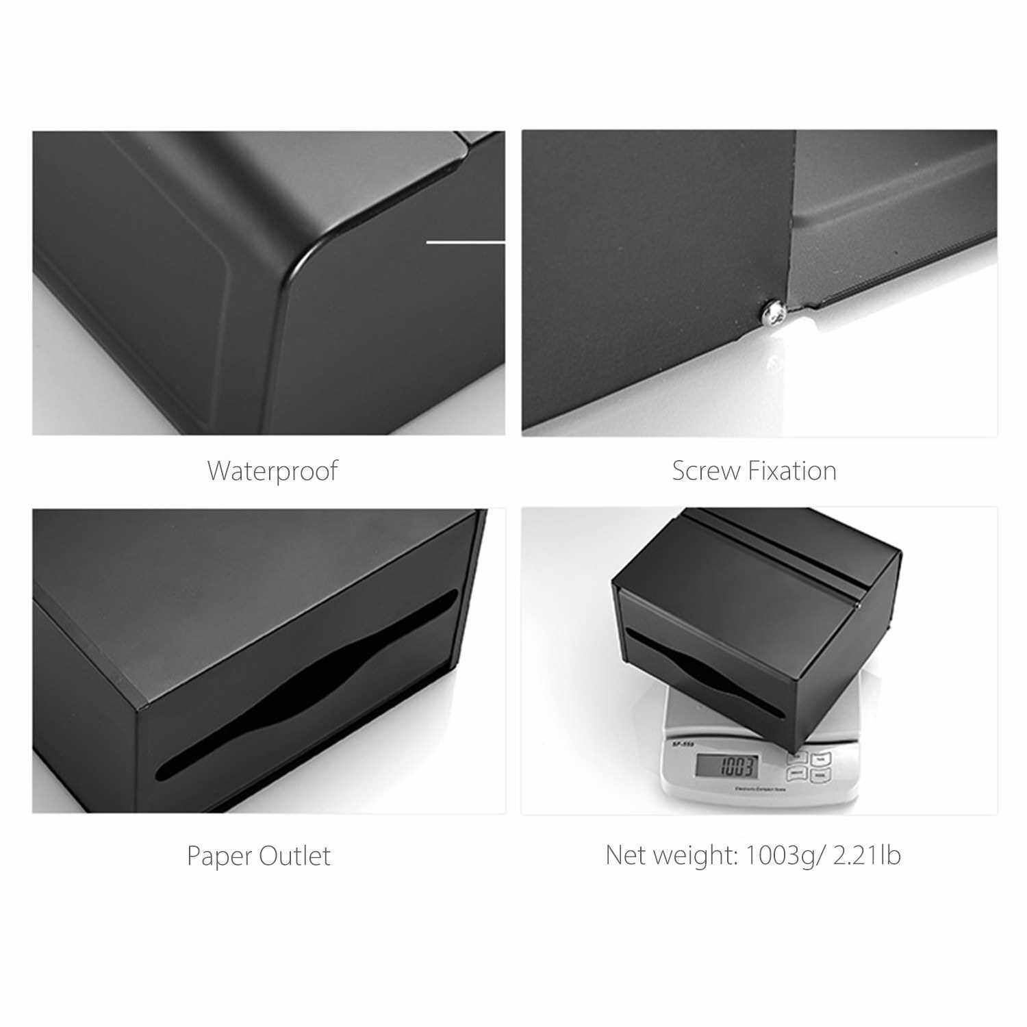 Paper Towel Dispenser Dual Compartment Tampons Holder Tissue Dispenser Wall Mounted Drilling Waterproof Stainless Steel Bathroom Toilet Tissue Dispenser Kitchen Paper Towel Dispenser (Silver)