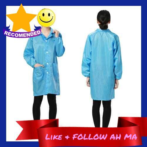 Best Selling Work Clothes Antistatic Clean Anti-Static Clothes Dust-proof Labour Protection Clothing for Food Shop Medical Paint Spraying Workers(Blue Size:XXXL) (Lake Blue)