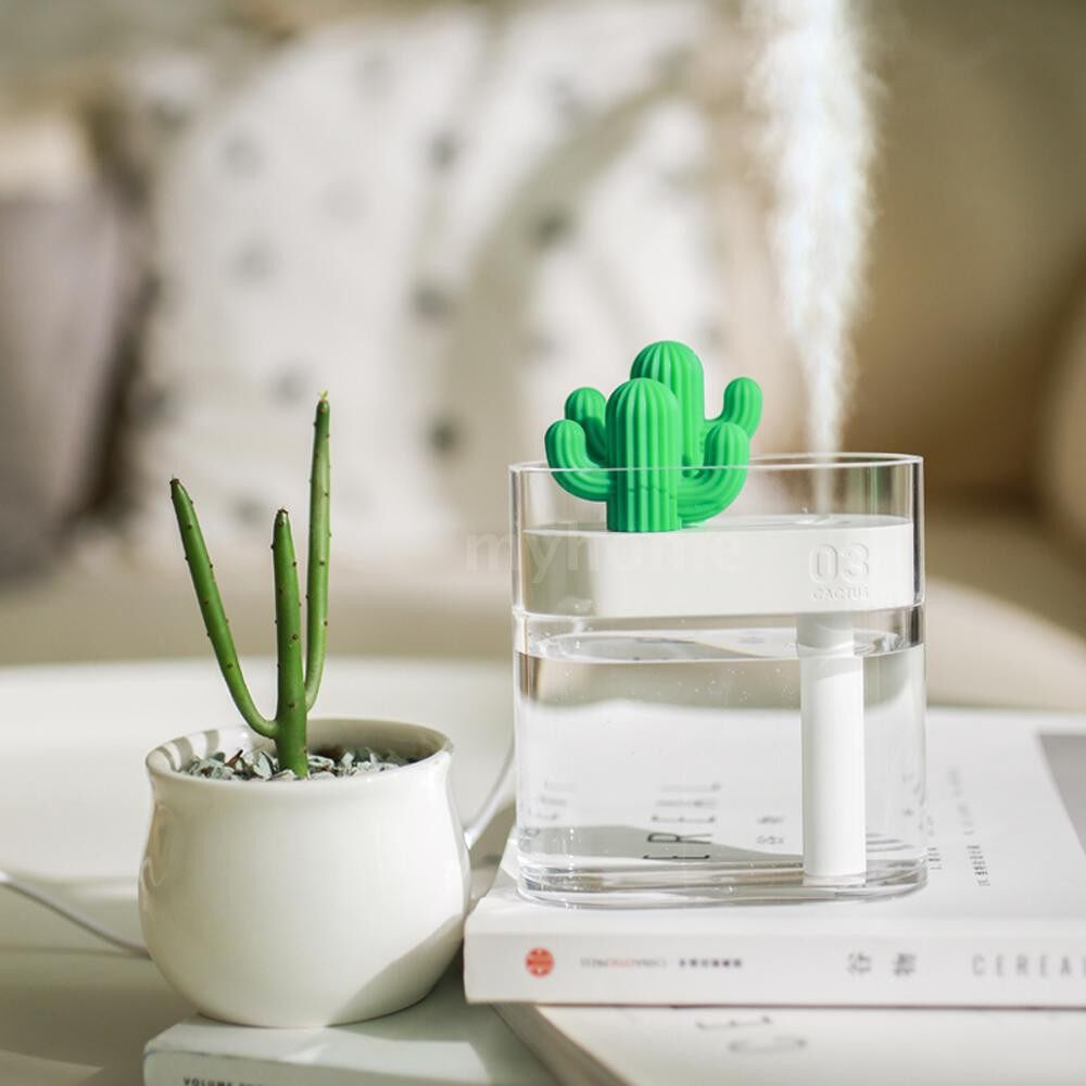 Humidifiers & Air Purifiers - 160ML ULTRAsound Air Humidifier USB Essential Oil Diffuser Colorful Lights Clear Cactus Car - TRANSPARENT