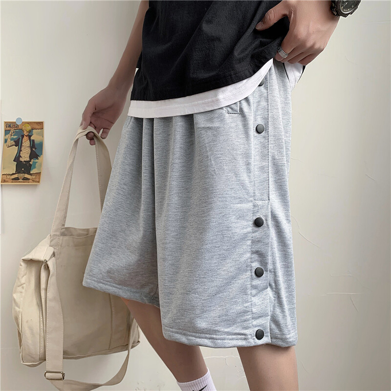(PRE ORDER) MEN SIDE BUTTON SHORTS STREET LOOSE FIVE POINT PANTS