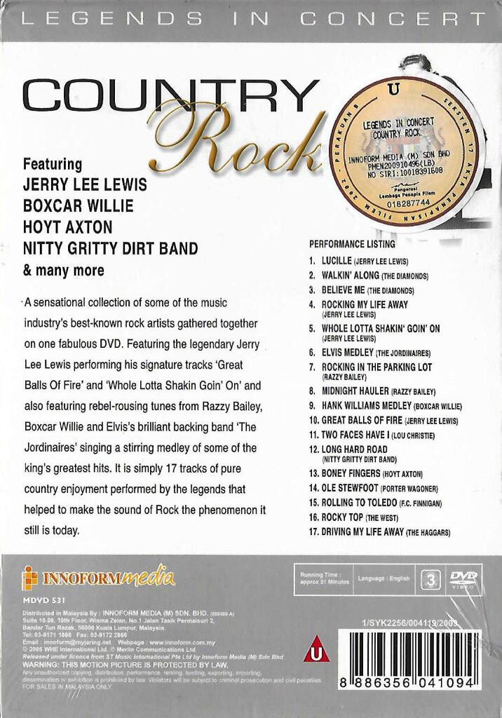 Country Rock Legends In Concert DVD Jerry Lee Lewis / Boxcar Willie / Hoyt Axton / Nitty Gritty Dirt Band