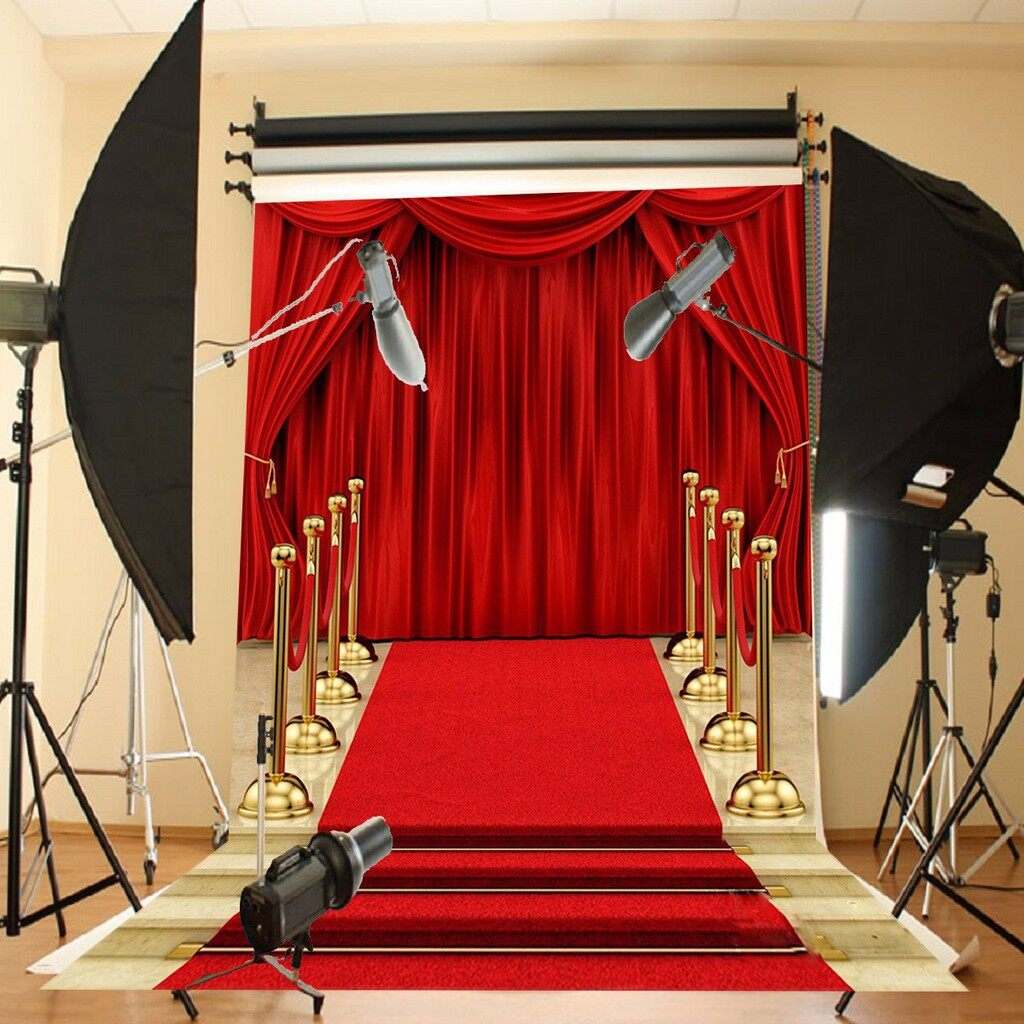 Lighting and Studio Equipment - 5x7FT Red Carpet Curtain Backdrop Studio Vinyl Photography Photo Background - Camera Accessories