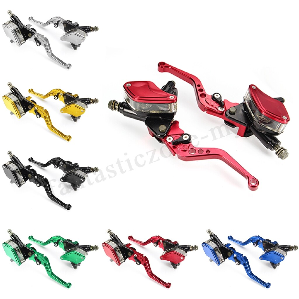 Moto Accessories - Colorful Motorcycle Hydraulic Brake Clutch Master Cylinder Reservoir Lever PAIR - RED / GOLD / BLACK / BLUE / SILVER / GREEN