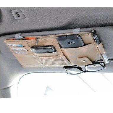 Tyres & Wheels - Multi-function Leather Car Sun Visor Glasses Credit Card Holder - BEIGE / GREY / BLACK
