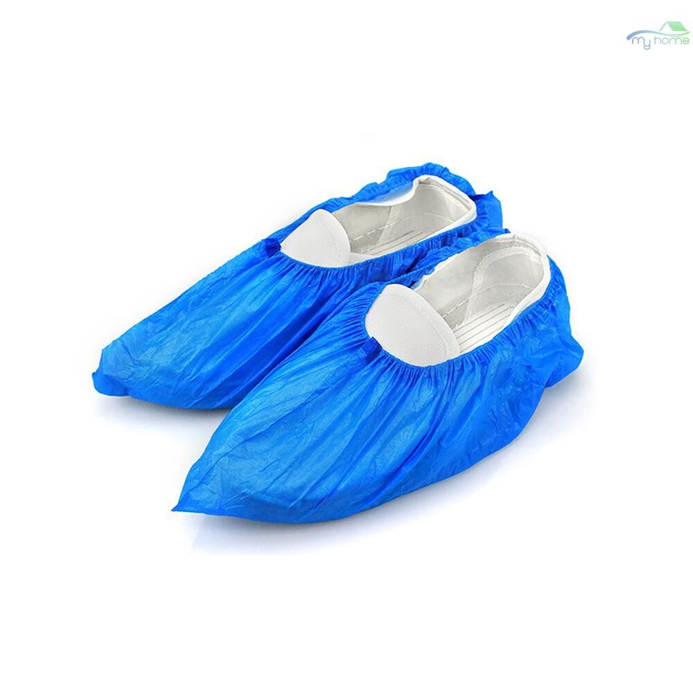 Protective Clothing & Equipment - 100 PIECE(s)/Pack Waterproof Disposable Shoe Covers Plastic Protective Overshoes Keeping Floor Cleaning - BLUE