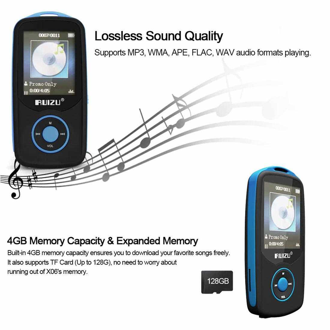 Best Selling RUIZU X06 4GB MP3 / MP4 Player Lossless Music Player Bluetooth Connection FM Radio Recoding w/ TF Card Slot 1.8 Inches Screen (Blue+Black)