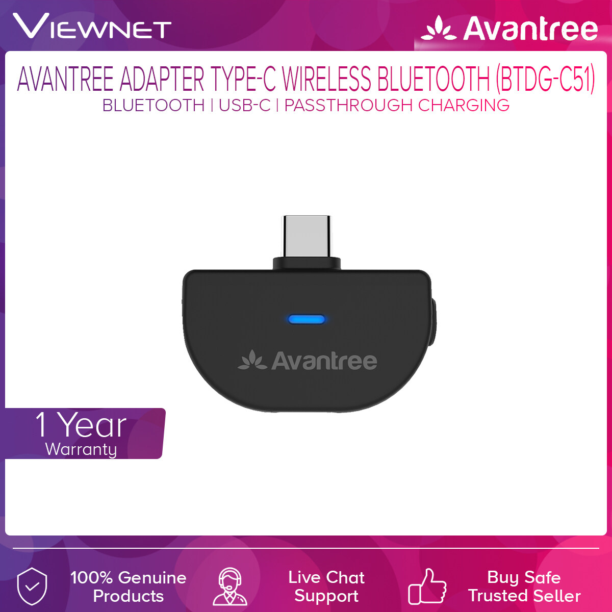 Avantree Adapter Type-C Wireless Bluetooth (BTDG-C51) with Audio Transmitter, No Lip Sync Delay, Passthrough charging, Bluetooth enable