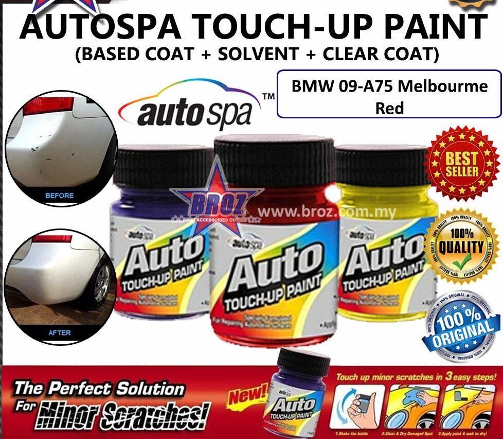 AUTOSPA Touch Up Paint for car BMW 3pcs/Set (Base Coat + Solvent + Clear Coat)