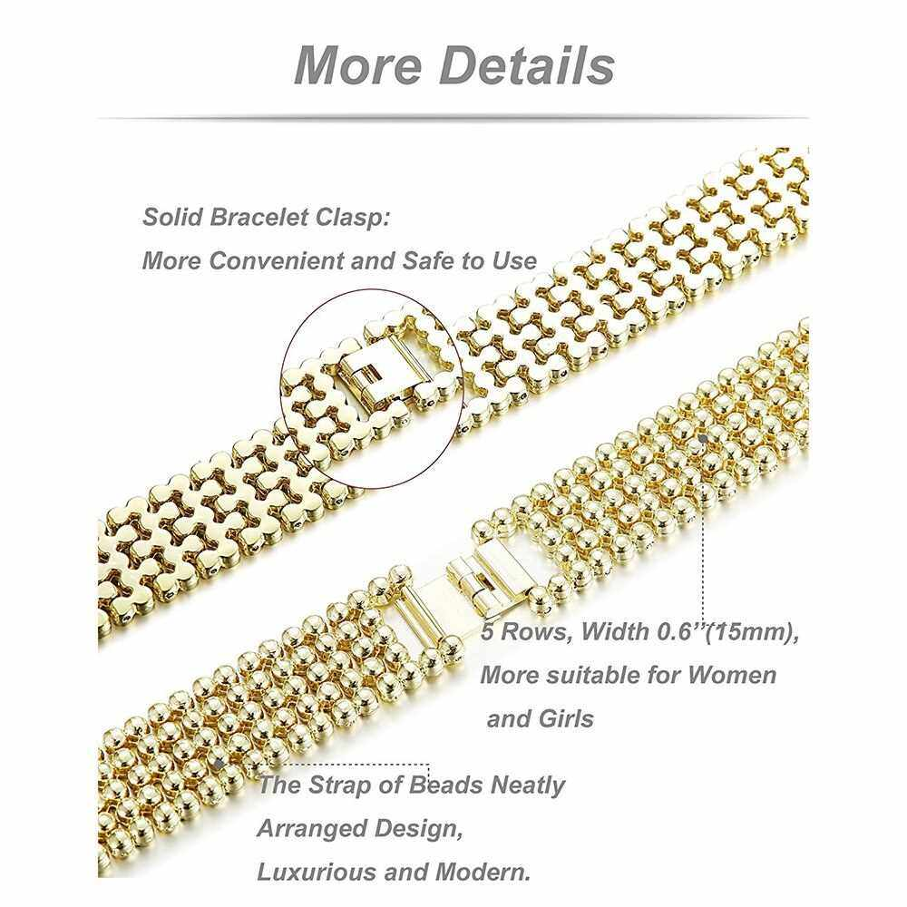 High Quality Watch Band Zinc Alloy Women Fashion Simple Style Wrist Strap for Fitbit Charge 2 (Gold)