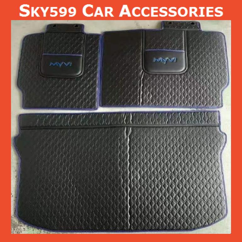 Perodua Myvi 2018-2020 Leather Rear Boot Cargo Car Floor Mats Trunk Mat Pad Leather Car