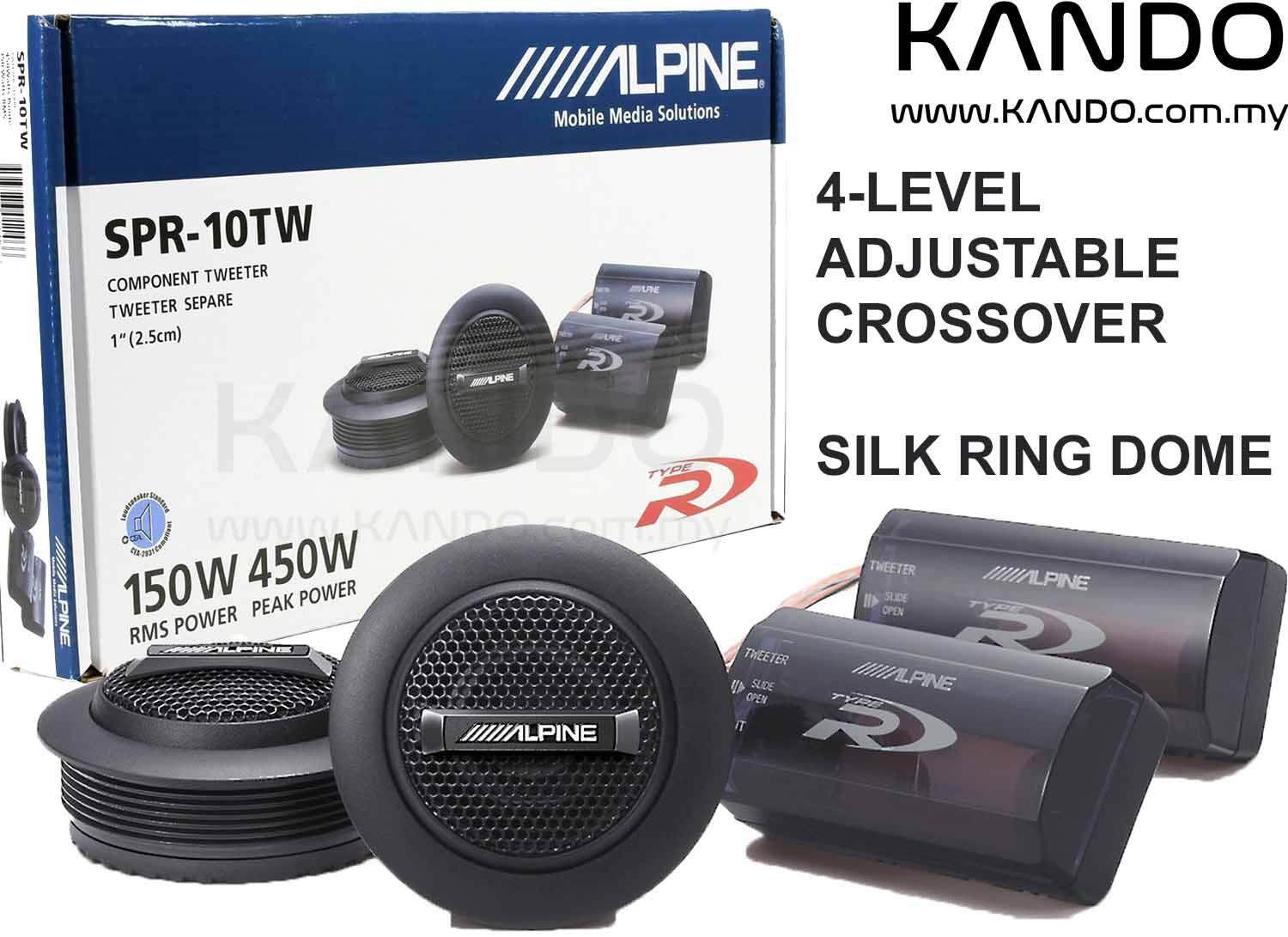 Alpine SPR-10TW Type-R Silk Dome Tweeter with Crossover Car Speakers 1 inch Tweeter Peak 450W RMS 150W