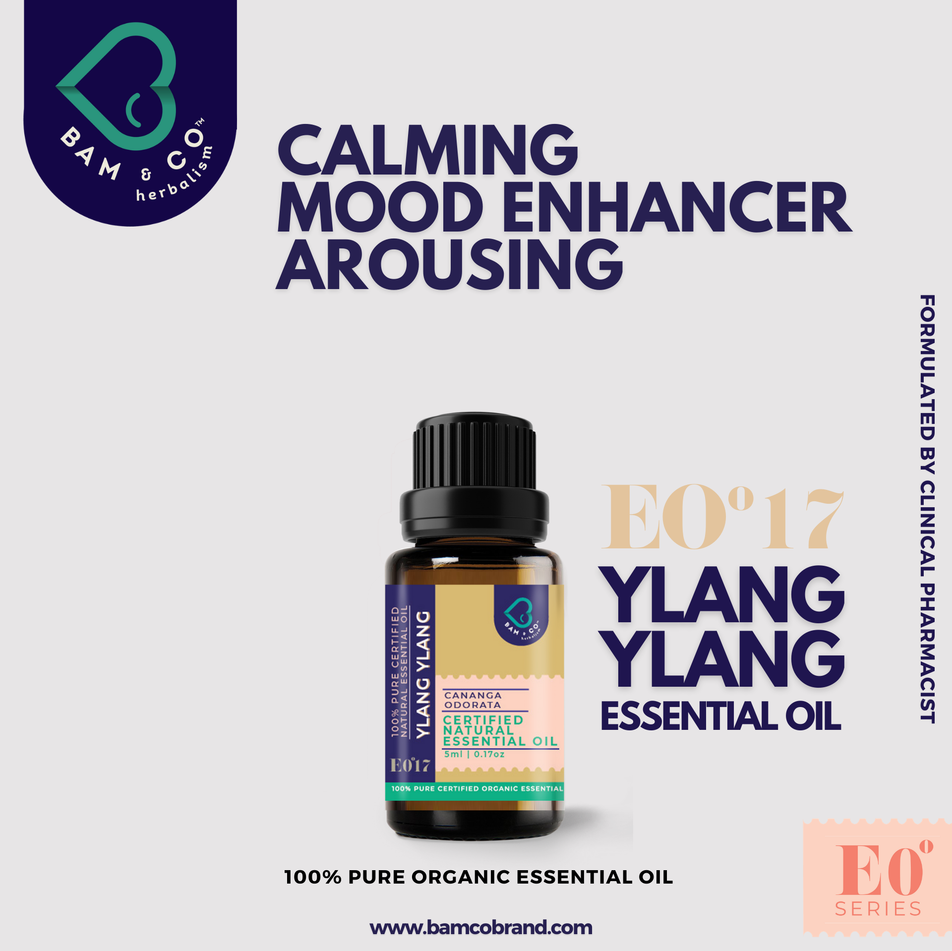 BAM & CO. YLANG YLANG CERTIFIED PURE ORGANIC ESSENTIAL OIL 5ML 10ML