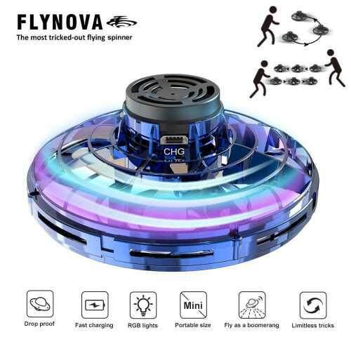 Flynova UFO Fingertip Flight Gyro Flying Spinner Decompression Toy For Adult and Kids Outdoor Gaming(Blue)
