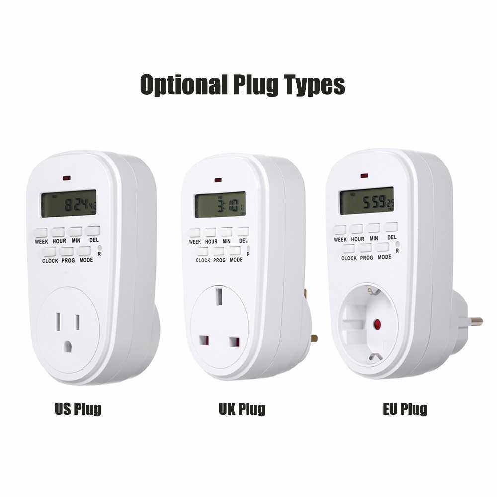 Digital Timer Switch Socket with LCD Display Plug-in Programmable Time Controller Intelligent Electronic Timing Socket (Eu)