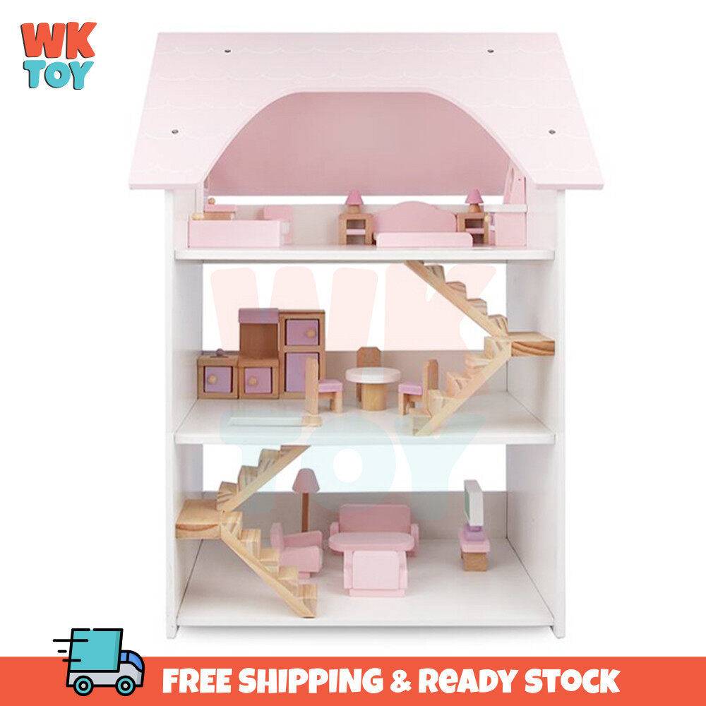 WKTOY Wooden 3 Storey Doll House Assembly Villa Furniture DIY Miniature Model Gift Toy