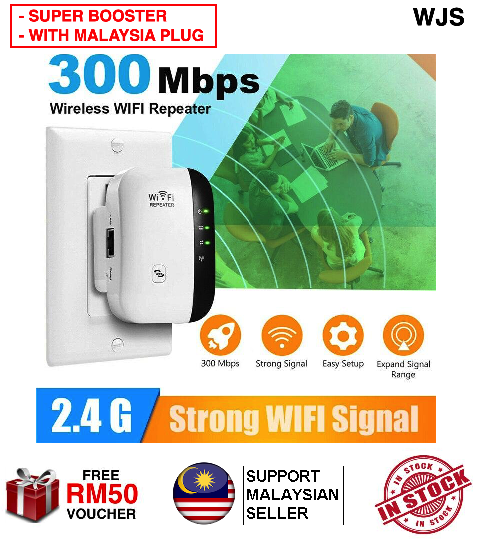 (MALAYSIA PLUG) WJS Super Boost WiFi Up to 300Mbps WiFi Signal Access Point Easy Set-Up 2.4G Network with Integrated Antennas LAN Port WiFi Extender WiFi Access Point WiFi Repeater WiFi Booster WiFi Extender [FREE RM 50 VOUCHER]