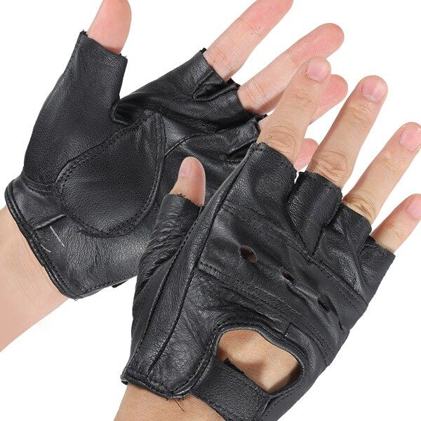 Riding Gear - Motorcycle Bicycle Bike M Black Half Finger Leather Gloves Cattlehide Durable - Motorcycles, Parts & Accessories