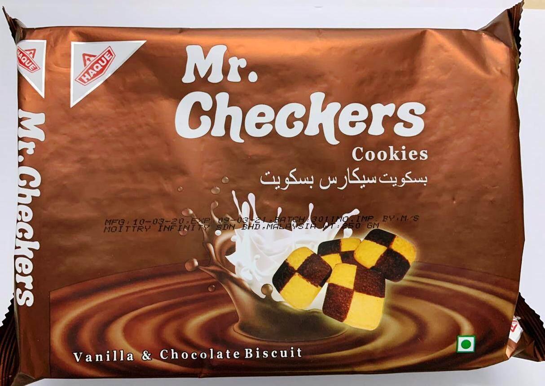 [Kuih Raya] HAQUE MR. CHECKERS COOKIES (CHOCOLATE AND VANILLA) 250 GM