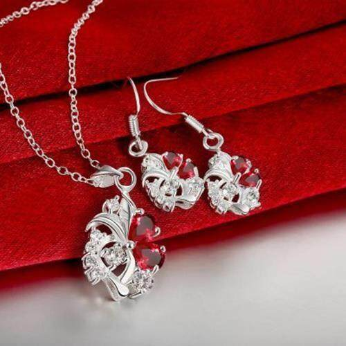 S144-B 925 SILVER PLATED NECKLACE EARRINGS JEWELRY SETS (RED)