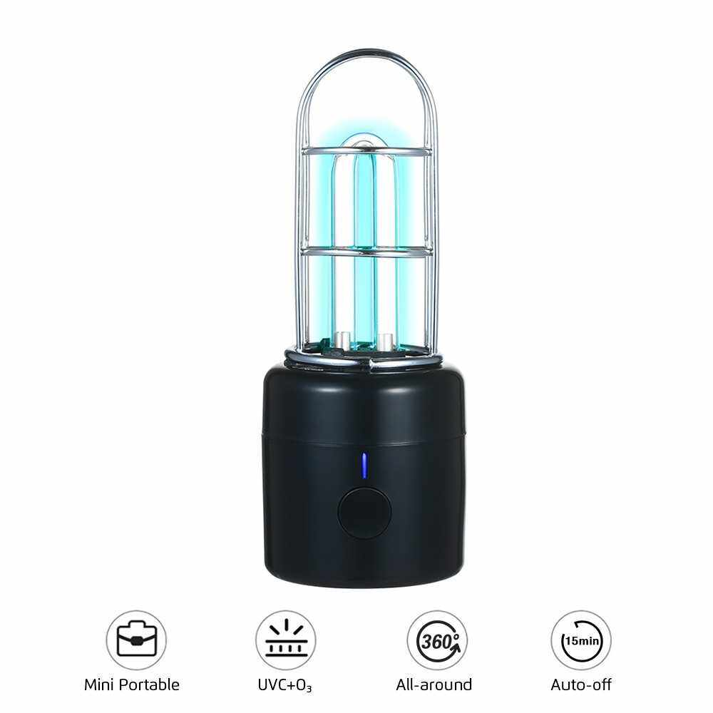People's Choice UVC Light Portable UVC Lamp Ultraviolet & Ozone Cleaning Light Rechargeable UV Light for Wardrobe Car Pet House Small Spaces (Black)
