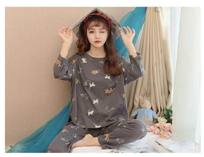 Bolster Store Plus Size Women Grey Cat Cartoon Loose Cotton Blouse Long Pants Set Comfortable Night Wear Pajamas