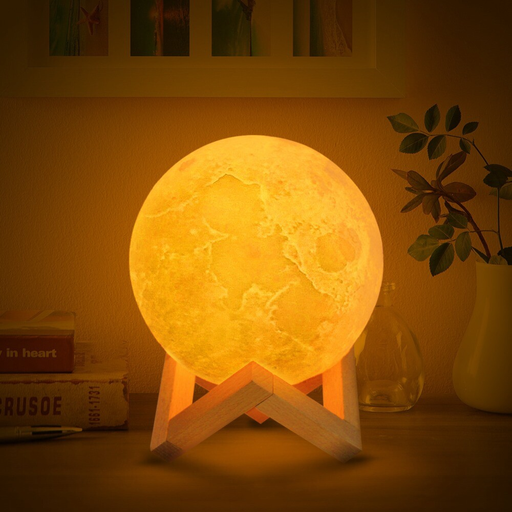 3D Print Moon Globe Lamp 3D Glowing Moon Lamp With Stand Night Light for Home - DIA-22CM / DIA-8CM / DIA-10CM / DIA-12CM / DIA-15CM / DIA-18CM
