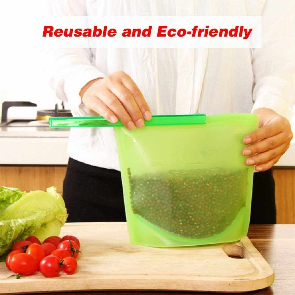 Reusable Leakproof Storage Bag Airtight Silicone Bags Snack Sandwich Lunch Freezer Bag for Storing Nuts Fruit 1500ML (Blue)