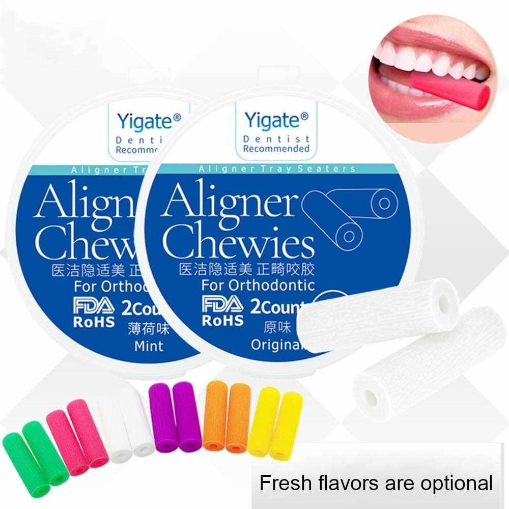 2Pcs/box Aligner Chewies Invisible Retainer Seater Orthodontic Silicone Stick Tooth Aligner Oral Dentist Tools (Purple)