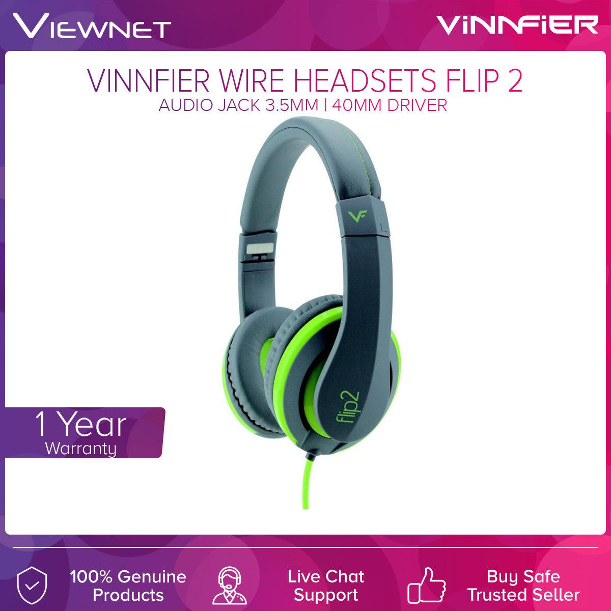 Vinnfier Wire Headset Flip 2 with 40MM Driver, 3.5MM Audio Jack, Lightweight Design, Built-In Mic