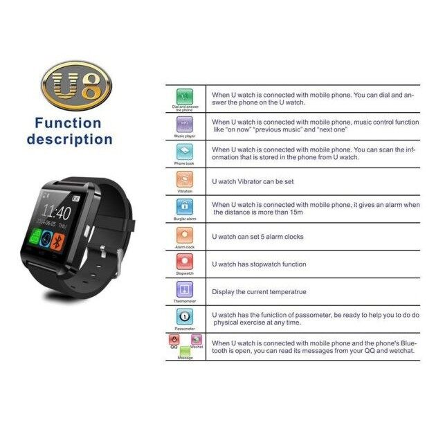 U8 Classy Smart Watch Touch Screen BLUETOOTH Connect Android iOS Phone - WHITE / BLUE / PINK / BLACK / RED