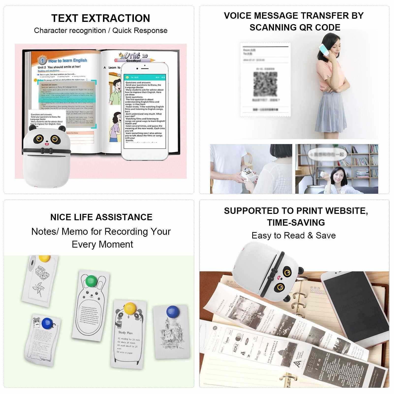 Mini Thermal Printer Wirelessly BT Connected 300dpi Photo Label Memo Wrong Question Printing Machine Tool Portable for Home Office Daily Use Students (White)
