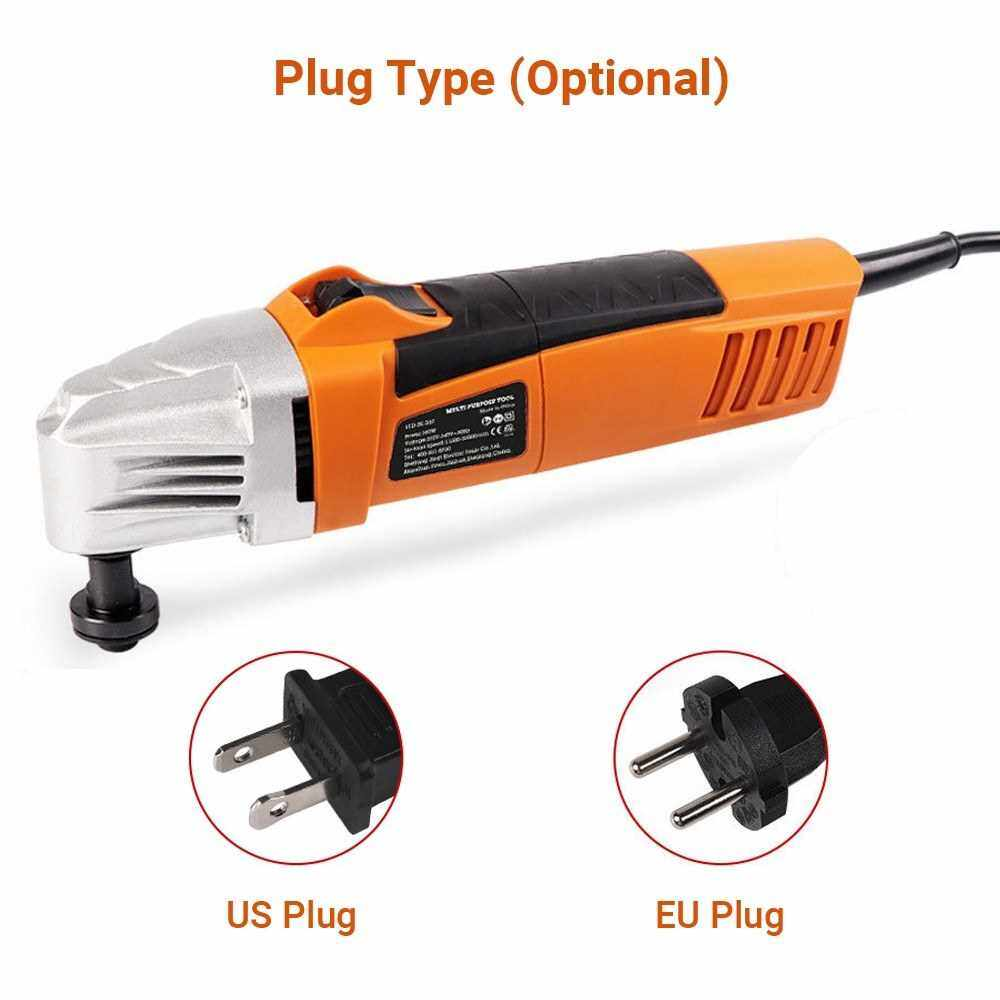 110V Oscillating Multi Saw Various Speed Multifunctional Electric Trimmer Woodworking Finishing Machine Swing Shovel Multi Purpose Tool with Sanding Sheet Saw Blade (Us)