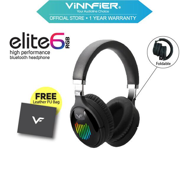 Vinnfier Elite 6 RGB High Performance Bluetooth Headphone with Micro SD Card Slot Aux Line Free Leather PU Bag