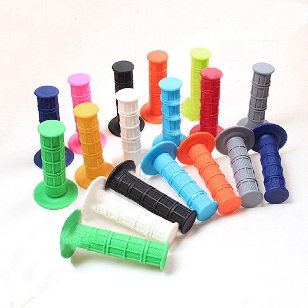 Moto Accessories - 1 Pair BMX MTB Mountain Motorcycle Bicycle Handlebar Soft Rubber Bar End Grips - WHITE / YELLOW / RED / LIGHT GREY / GREEN / BLUE / BLACK / ORANGE