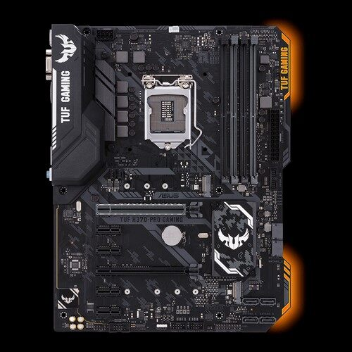 Asus TUF H370-PRO GAMING Motherboard, Intel H370 ATX gaming motherboard with Aura Sync RGB LED lighting, DDR4 2666MHz support, 32Gbps M.2, Intel Optane memory ready, and native USB 3.1 Gen 2.