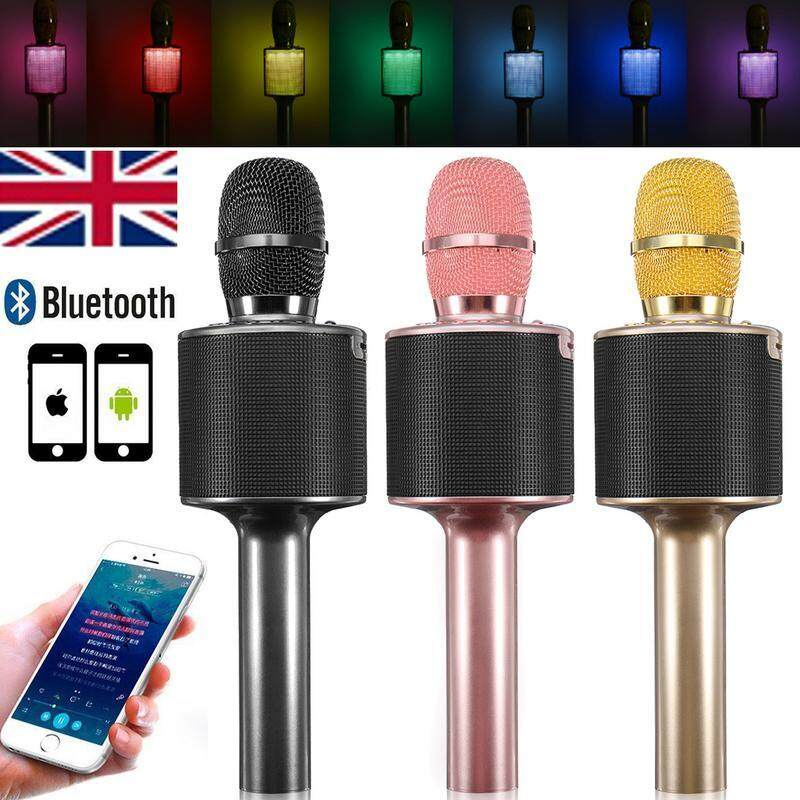 D03 Color Lamp Mobile phone Wireless Bluetooth Capacitor microphone Home KTV for i-os Android TF Card Support BLACK